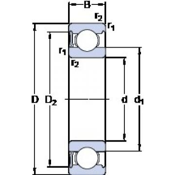 95 mm x 200 mm x 45 mm  SKF 6319-RS1 deep groove ball bearings